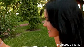 secret outdoor night filming German boulevard lesbian