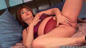 teasing old granny Licking cum panty