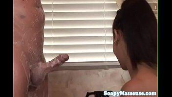 massaging hard dick young Japanese boob play