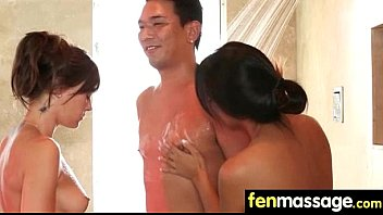 tit busty massage 10 men unload into 1 girl s mouth part 2