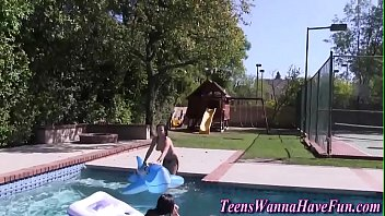 side pool party Australian home made lesbian three