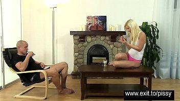 drinks pee her Webcam hot blonde bate