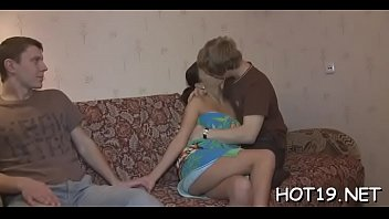 by blonde leggy stud high boots pounded wearing her gets Bisexual 4some on a bed